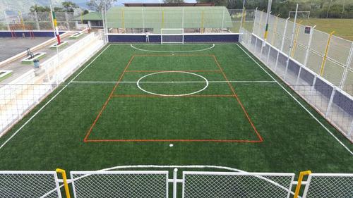 grama sintética canchas futbol tenis drenaje construccion