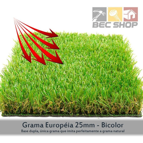 grama sintética europeia 25mm bicolor - (420m²)