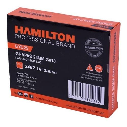 grampas 25mm hamilton x 2516 un. engrapadora clavadora grapa