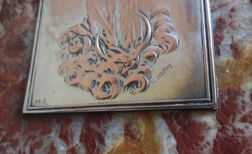 gran benditero mármol y metal plateado firmado huppe frances