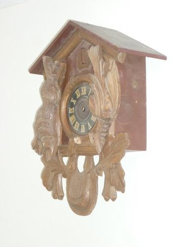 gran caja de reloj cu cu alemán modelo cazador.