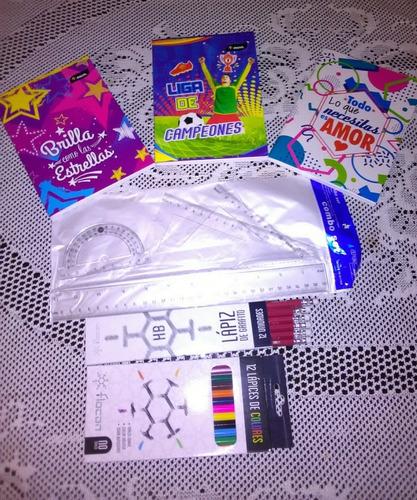 gran combo escolar super oferta. reglas, colores, cuadernos.