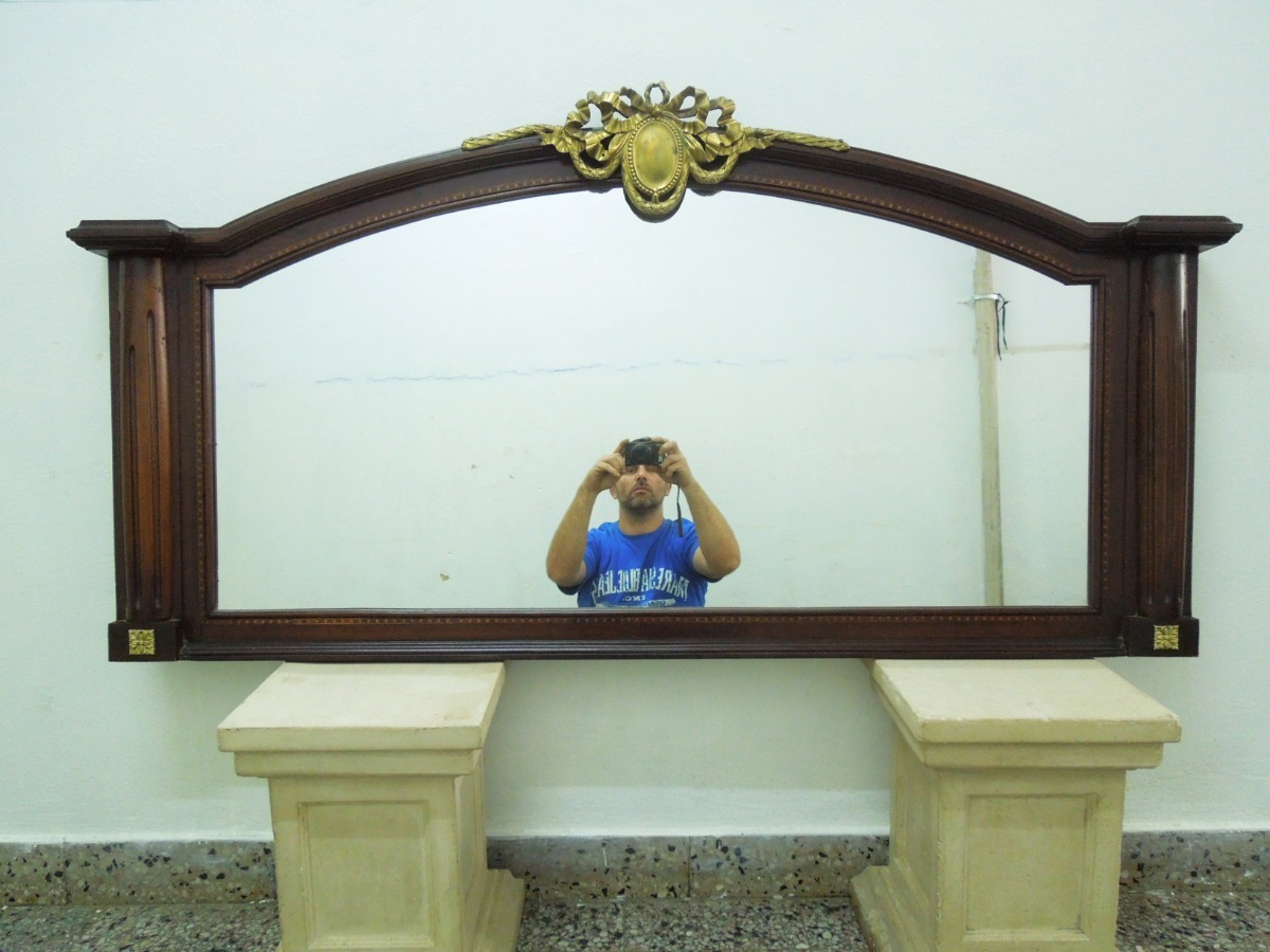 Gran Espejo Comedor Ingles Frances Bronceria Cedro Sala Exc ...