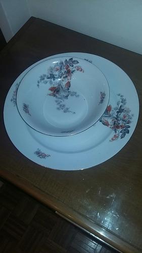 gran fuente redonda y ensaladera de porcelana alemana altwei