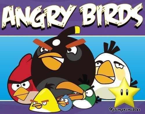 gran kit imprimible angry birds diseñá tarjetas, cumples