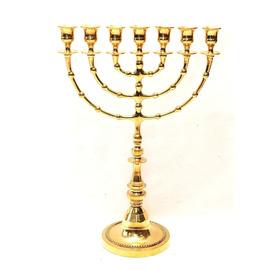 Gran Menorah Chapado En Oro De Tierra Santa Jerusalén H 43