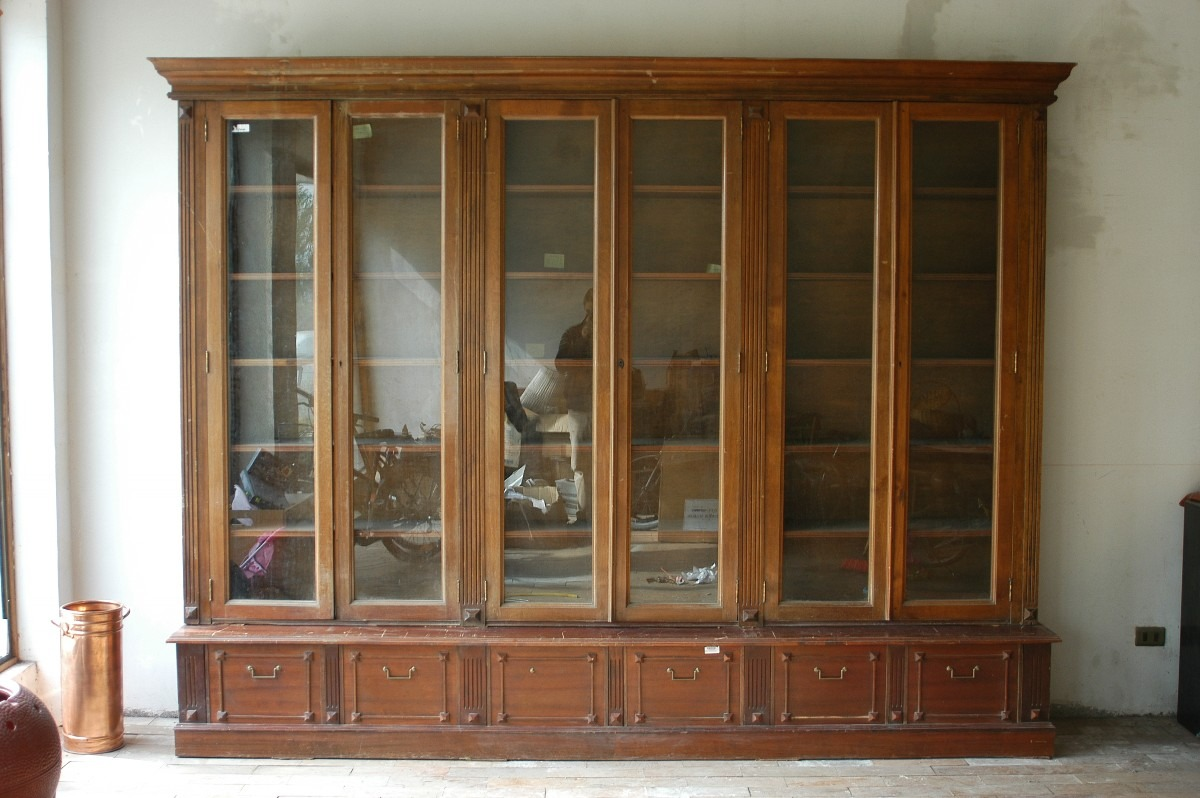Gran mueble biblioteca antiguo nogal camara diputados for Bibliotecas muebles