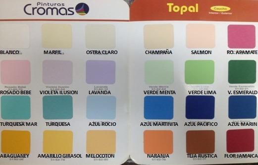 Gran oferta galon pintura cromas caucho mate clase b for Pinturas de interior catalogo de colores