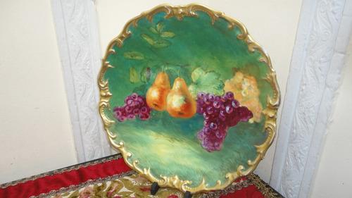 gran plato frances antiguo de 1910 pintado y firmado vealo