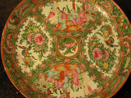 gran plato hondo porcelana cantón antiguo diámetro 28 cm