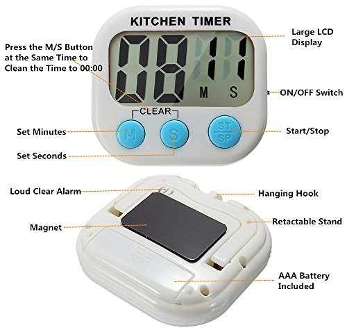 gran polly 3 pack digital kitchen timer temporizadores de c