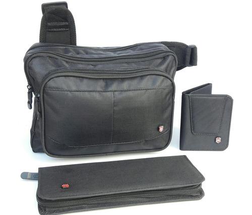 gran promo victorinox 3x1 bolso chequera y cartera