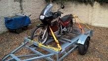 gran trailer  desarmable con baranda  para dos motos unico