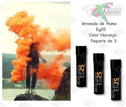 granada humo eg25 paquete 3 color naranja marcadora xtreme c