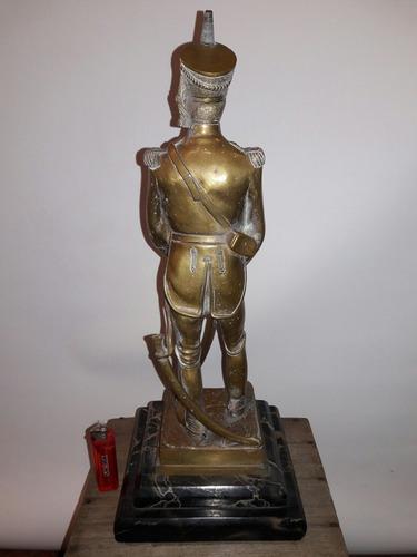 granadero de bronce antiguo, marmol, estatuilla, san martín