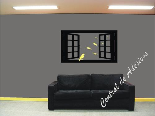 grande adesivo parede decorativo modelo janela com pássaros
