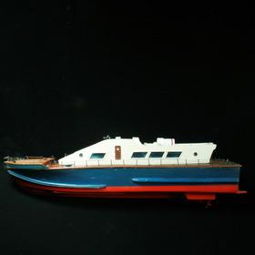 Grande Barco Em Madeira A Motor - Brinquedo Dos Anos 60