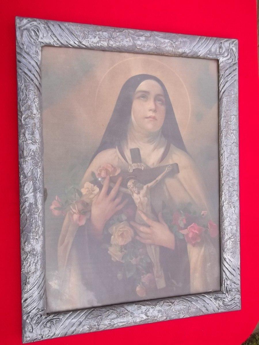 Grande antiguo cuadro virgen marco yeso labrado y madera for Marco cuadro antiguo
