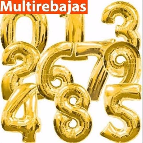 grandes globos de numeros y letras metalizados