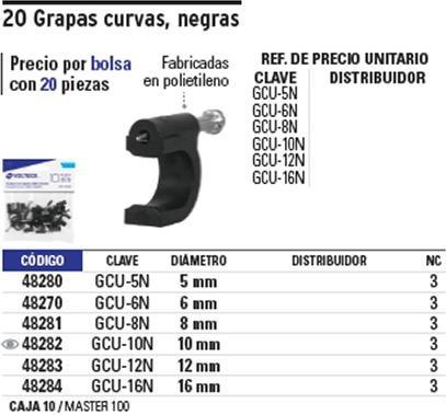 grapa cable curva 5 mm 20 pz negra voltech 48280
