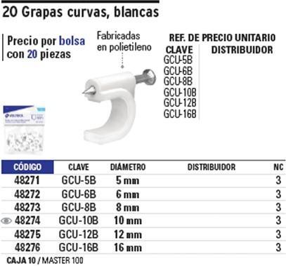 grapa cable curva 6 mm 20 pz blanca. voltech 48272