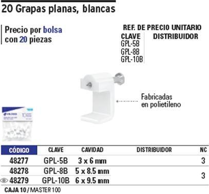 grapa cable plana 8 mm 20 pz blanca voltech 48278