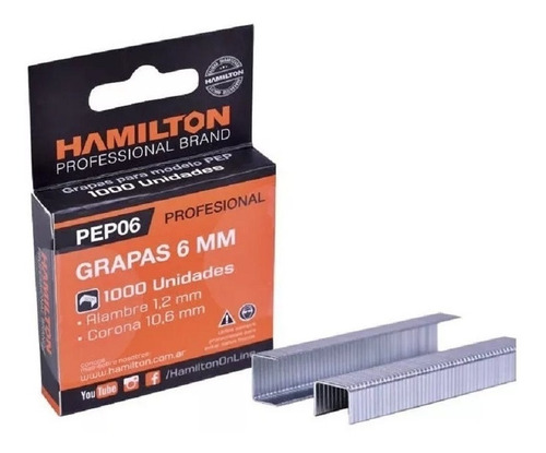 grapas grampa pep 6mm caja x 1000 unidades hamilton pep06