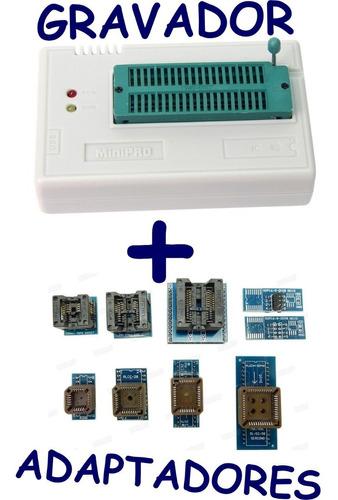 gravador  de memória minipro tl866 ii plus - grava memória bios memória nand e várias outras + 10 adaptadores