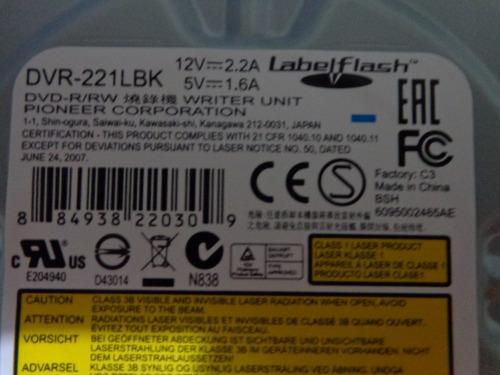 gravador dvd pioneer dvr 221 lbk sata - novo