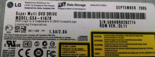 gravador lg super multi dvd driver gsa-4167b para desmanche