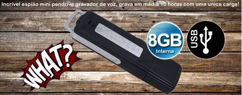 gravador voz pen drive espião usb 8gb alta sensibilidade mic