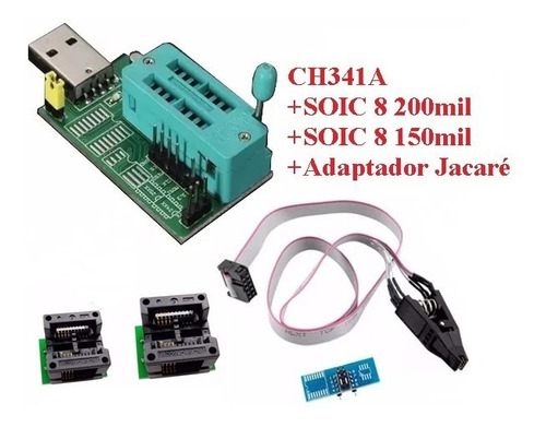 gravadora ch341a clip jacaré soic8 150mil soic8 200mil eprom