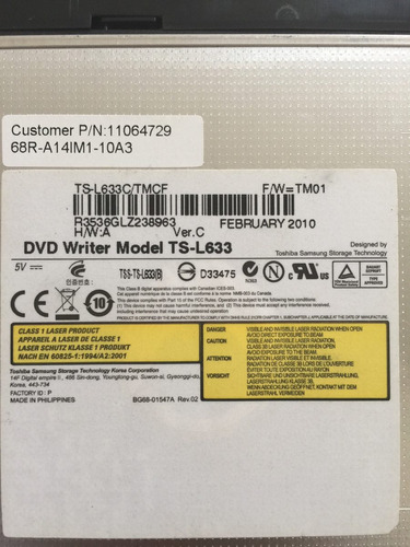 gravadora dvd - ts-l633 notebook positivo - sim+ - cce