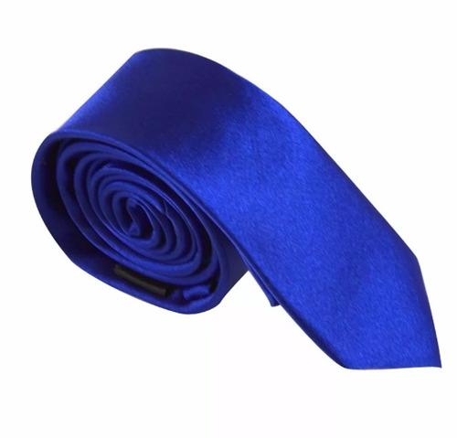 gravata azul royal lisa semi slim para diversas ocasiões