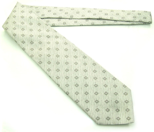 gravata italiana prateada detalhes quadrados 100% seda b0335