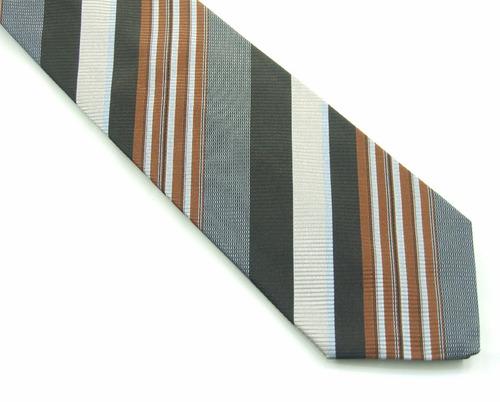 gravata listras marrom preto azul e prata italiana fg! b0371