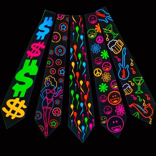 gravata neon para festas - kit 10 unidades