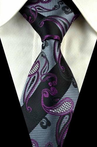 gravata seda paisley preto cinza vinho feita a mão gvt 617