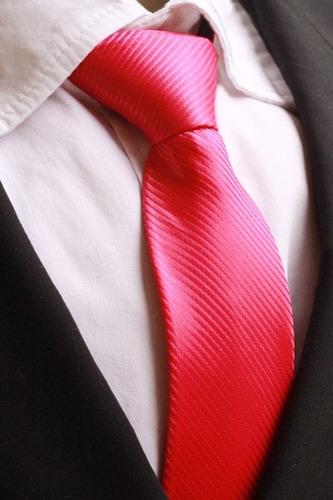 gravata semi slim trabalhada rosa pink pastor
