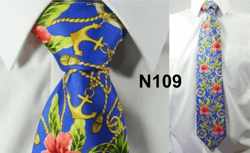 gravata vintage azul 100% seda pura tema cruzeiro ferias 109