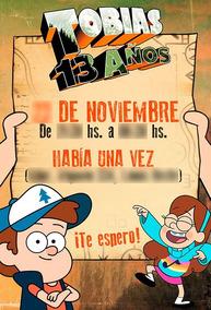 Gravity Falls 15 Tarjetas En Papel Invitación Digital