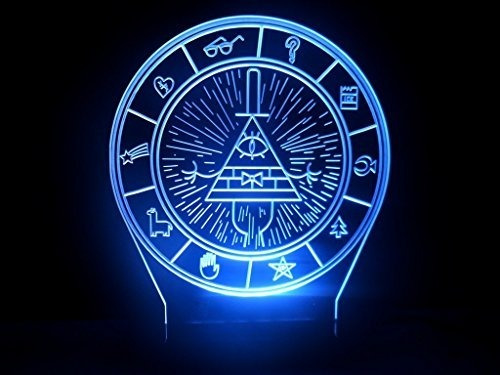 gravity falls bill cipher rueda secrets mapa lampara led 3d