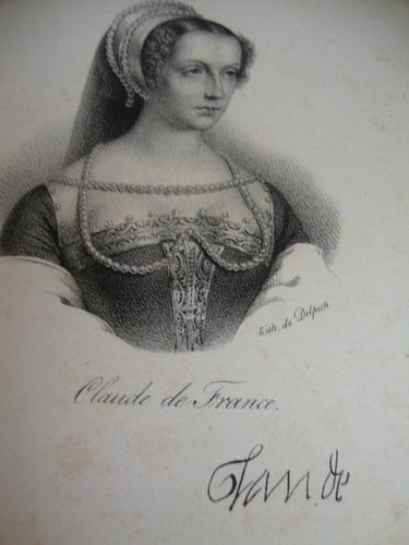 gravura antiga francesa rainha claude france
