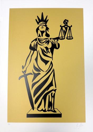 gravura deusa da justiça - artista tania fialho