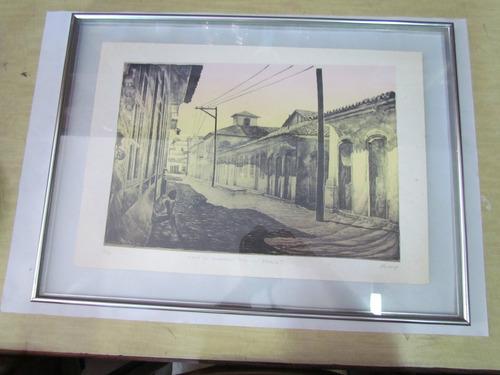 gravura rua do comércio - paraty assinado por nelson godoy