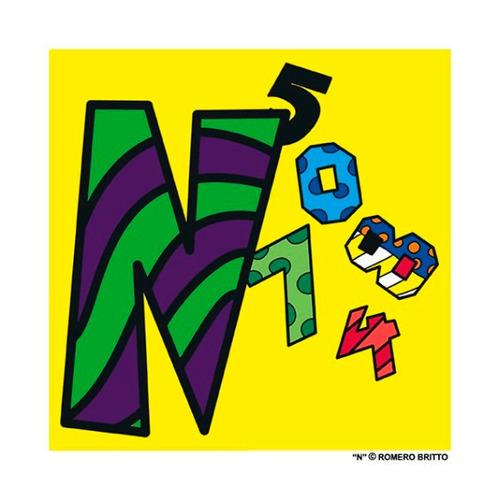gravuras posters oficiais romero britto - alfabeto letra n