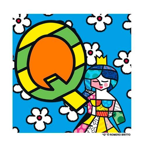 gravuras posters oficiais romero britto - alfabeto letra q