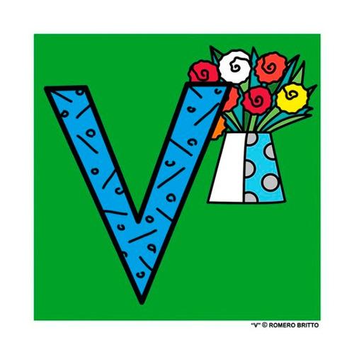 gravuras posters oficiais romero britto - alfabeto letra v