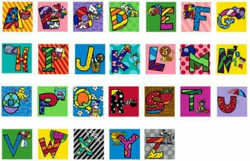 gravuras posters oficiais romero britto - alfabeto letra x