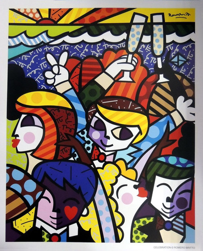 gravuras posters oficiais romero britto - celebration grande